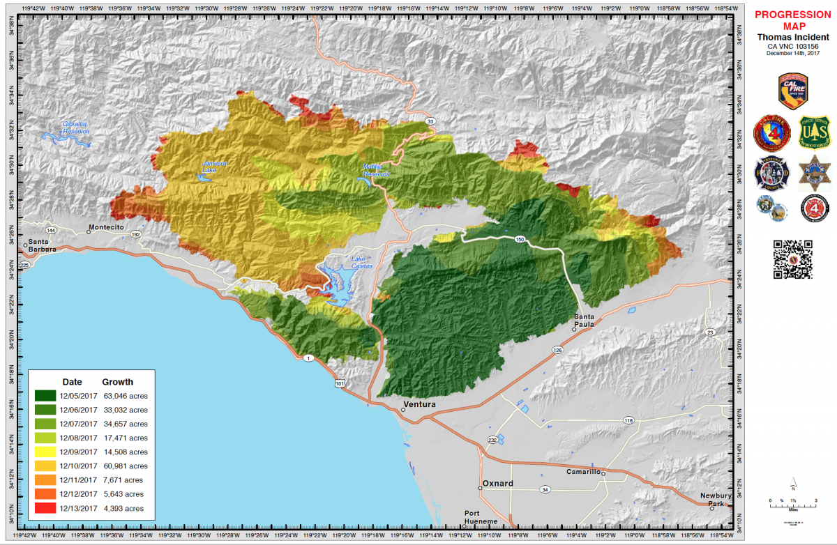 Thomas Fire Map Ventura